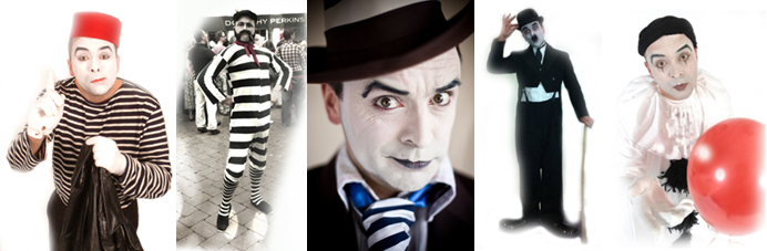 silent clown mime characters